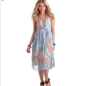 FP Watercolor Feather Sea Print Gypsy Dress